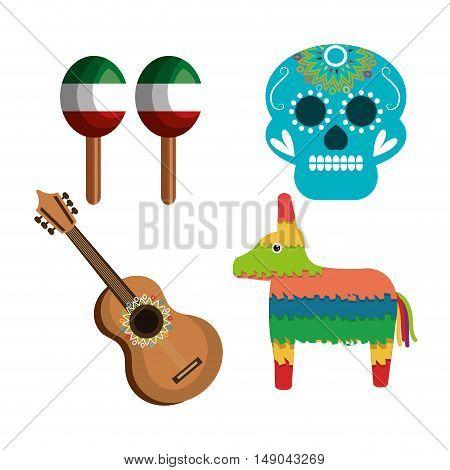 set icons culture festive mexican design vector illustration eps 10