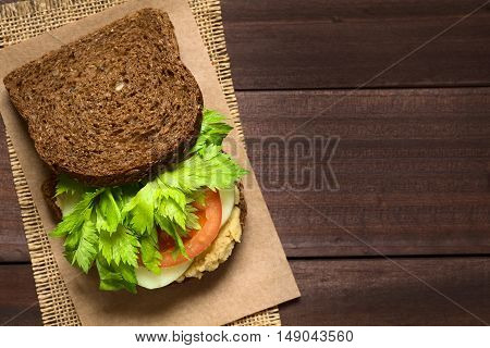 Vegan wholegrain sandwich with celery leaves tomato cucumber and chickpea spread or hummus photographed overhead with natural light (Selective Focus Focus on the top of the bread slice and on the celery)