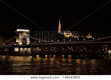 Night view of Danube in the center of Budapest with Chain Bridge Matthias Church and Fisherman's Bastion