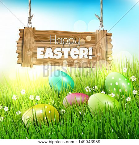 Easter greeting card with wooden sign and colorful eggs in grass - vector illustration