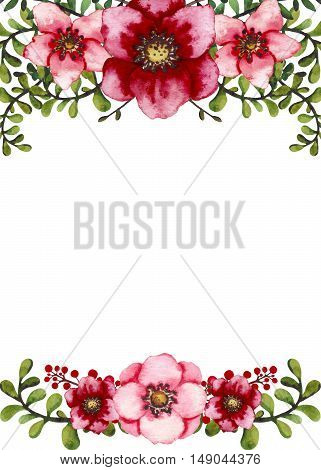 Frame with Watercolor Light Green Leaves and Colorful Garden Flowers