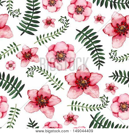 Watercolor Vine Green Leaves and Light Red Flowers Seamless Pattern