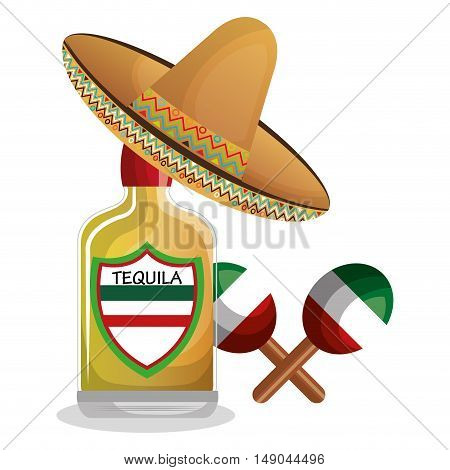 bottle tequila maraca and hat mexican design vector illustration eps 10