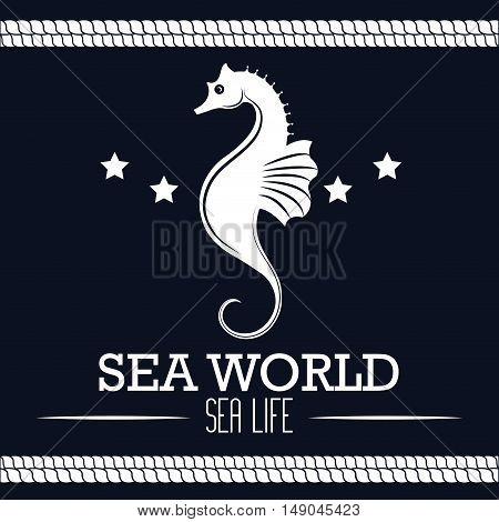 sea world life seahorse label design vector illustration eps 10