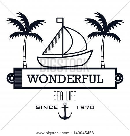 sailing icon sea life design vector illustration eps 10