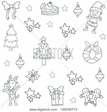 Collection stock christmas set of doodle illustration