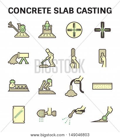 Concrete slab casting and floor vector icon sets.