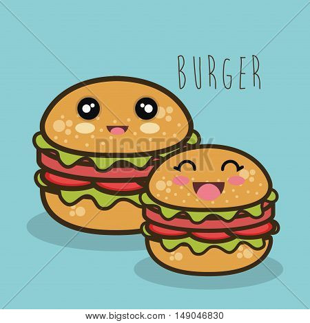 fast food burger cartoon graphic isolated vector illustration eps 10