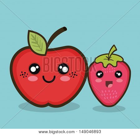 kawaii fruit apple and strawberry graphic isolated vector illustration eps 10