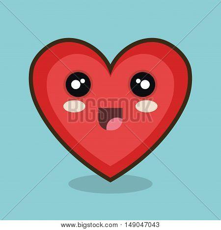 kawaii heart happy red design vector illustration eps 10