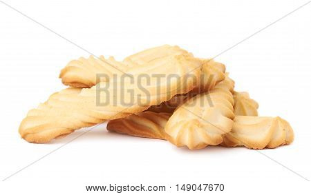Pile of long cookie stiks with the pieces of chocolate isolated over the white background