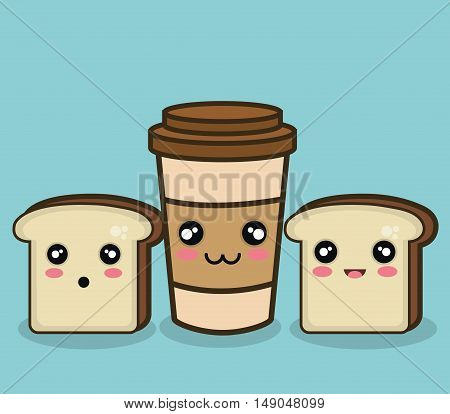 bread and cup coffee cartoon graphic design vector illustration eps 10