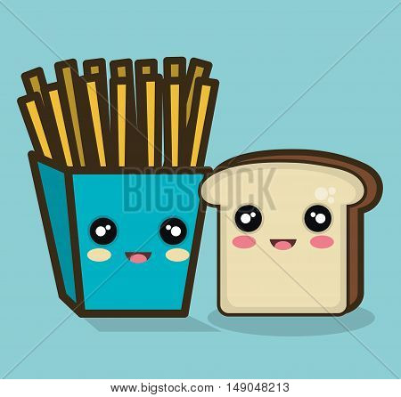 fries and bread cartoon food design isolated vector illustration eps 10