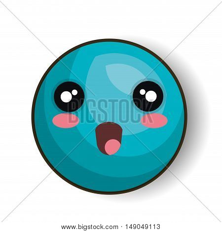 cartoon emoji blue smiling open mouth vector illustration eps 10
