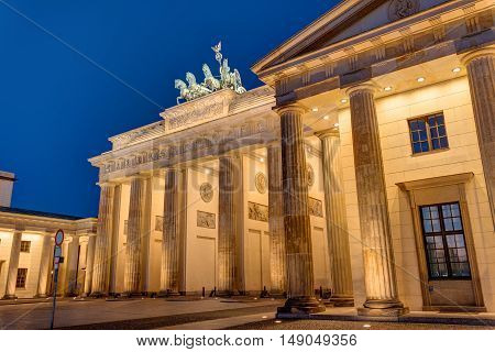 View of the Brandenburger Tor in Berlin at night