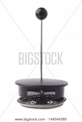 Part of french press pot coffee maker isolated over the white background