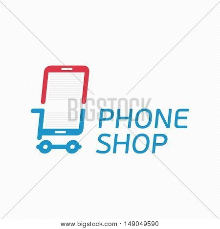 Vector abstract logo template mobile phone shop. Smart phone store sign concept. Universal On-line store logotype. Application icon concept.