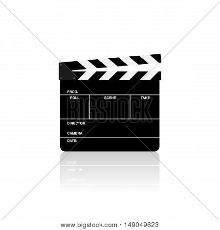 Movie clapper board isolated on white background vector illustration