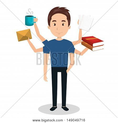 man with many arms multitask graphic vector illustration eps 10
