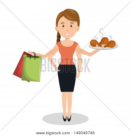 woman cartoon many arms design graphic vector illustration eps 10
