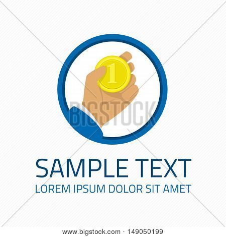 Logo template money in hand. Gold coin in arm man graphic element. Concept for financial service, insurance, banking, leasing or any finance business.