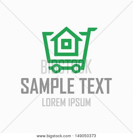 House logo. Template vector property. Real Estate vector sign. The building symbols in shopping cart, pictogram for business design.