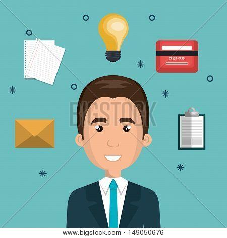 cartoon man face multitask design vector illustration eps 10