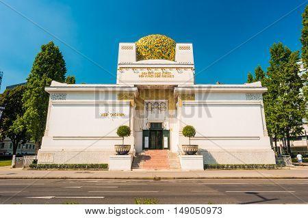 The Secession Building, Wiener Secessionsgebaude - exhibition hall built in 1897 by Joseph Maria Olbrich as architectural manifesto for Vienna Secession. Vienna, Austria. Beautiful travel photo.