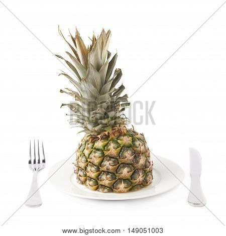 Cut raw fresh pineapple on plate isolated over white background