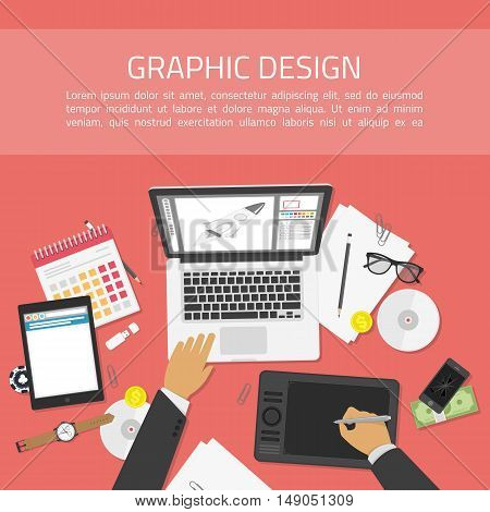 Flat design vector illustration of modern creative office desk, workplace of a designer top view. Concept of creative worker. Banner for web development and graphic design.