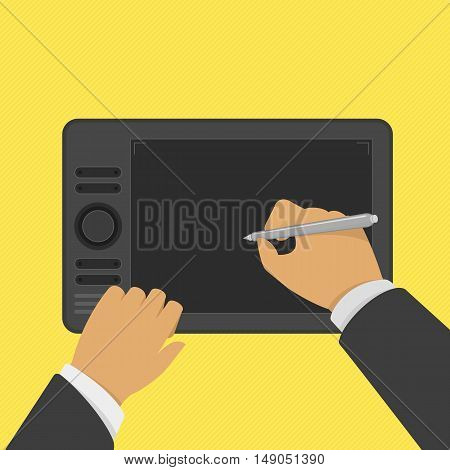 Black graphic tablet in top view and stylus in hand of man. Modern device for graphic design in flat style. Tool for creativity.