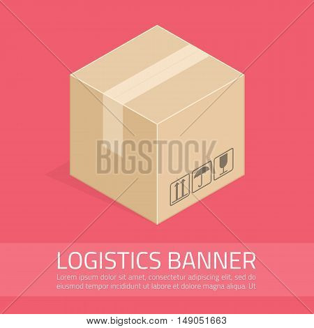 Vector logistics banner.Illustration of delivery for website or infographics. Business concept poster of online shopping and sourcing.