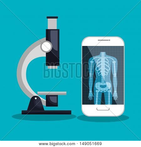 smartphone and microscope medical service vector illustration eps 10