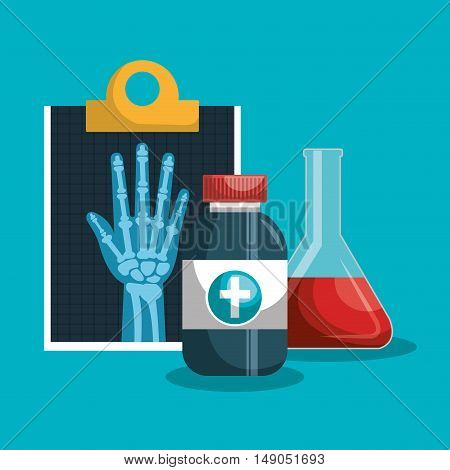 set medical services. clipboard with medicine and tube test design isolated. vector illustration