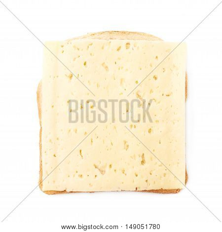 Single sandwich with cheese over white isolated background