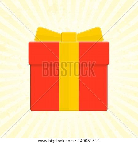 Vector gift box icon. Illustration of Present Boxes in flat style. Red box whit yellow ribbon on sunrise background.