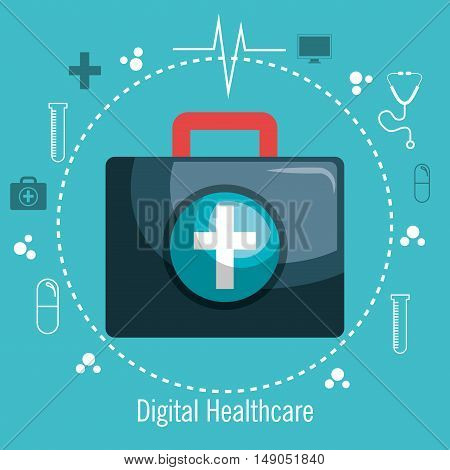 kit first aid digital healthcare design icons medicine vector illustration eps 10