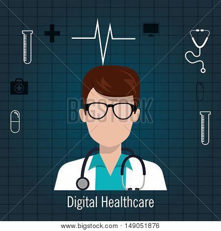 doctor stethoscope icon digital healthcare vector illustration eps 10