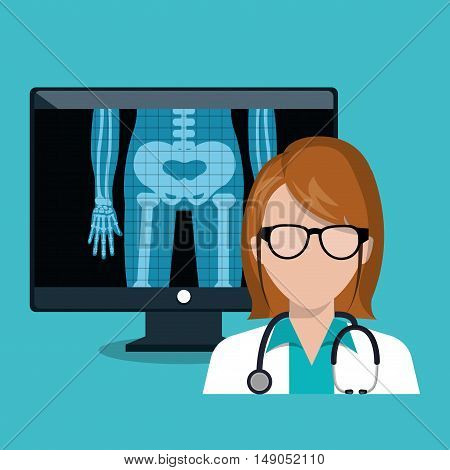 digital healthcare doctor. monitor with x-ray. design graphic vector illustration eps 10