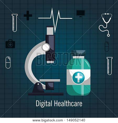 microscope and bottle medicine digital healthcare vector illustration eps 10