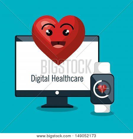 digital healthcare monitoring cardio smart watch vector illustration eps 10