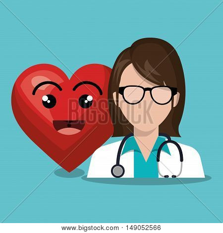 character doctor femalewith sthetoscope and heart cartoon design