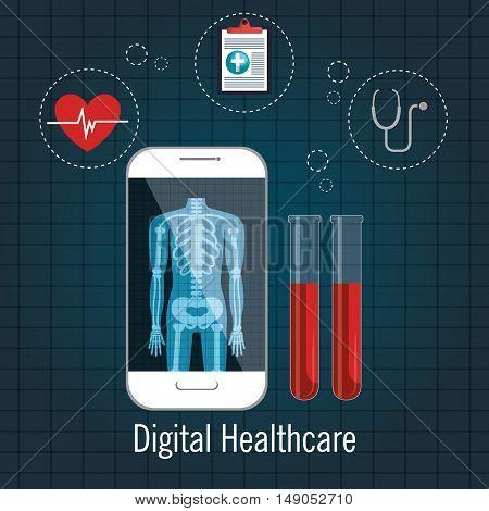 digital healthcare cardio app graphic design vector illustration eps 10