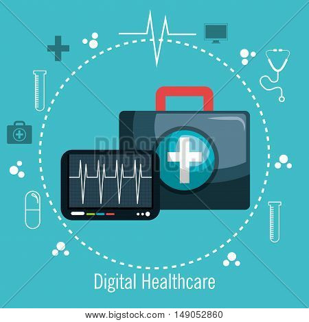 digital healthcare pulse and first aid vector illustration eps 10