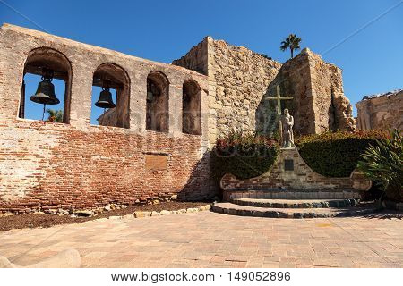 San Juan Capistrano, CA, USA --September 25, 2016: The Mission San Juan Capistrano bells in Southern California, United States. Editorial use only.