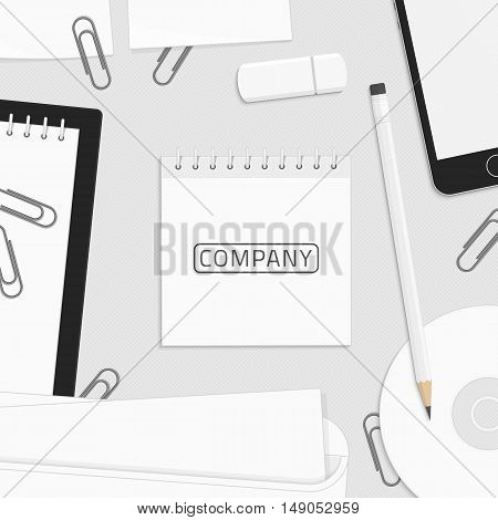 Blank Sticky Notes Template on Workplace businessman. Branding design. Corporate identity elements. Preview of the layout for the logo or company sign.