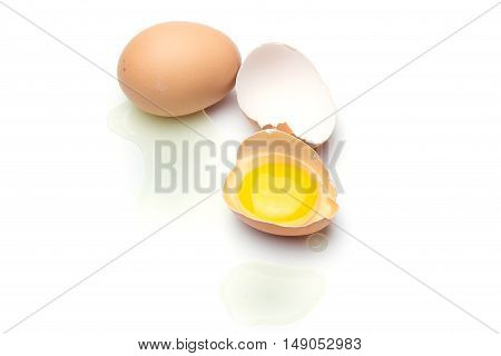 Close up Broken Eggs isolated on white background.