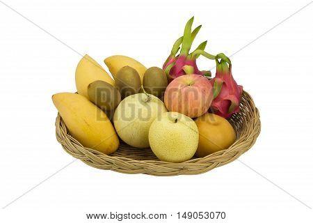 Close up Ripe fruits isolated on white background