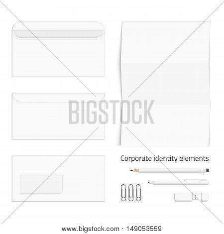 Vector templates of corporate identity. Branding design. Letterhead, open and close envelopes, pencils, pen, USB flash drive and paper clip. Vector illustration eps10.
