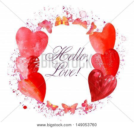 A circular border for text or logo, formed by hand painted pink and golden yellow butterflies and hearts, with splashes of watercolor